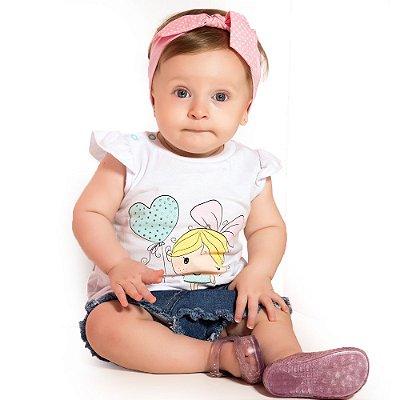 Blusa bebê balão coração