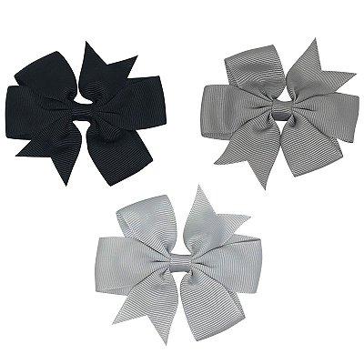 Kit 03 laços tons de cinza