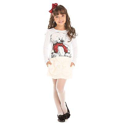 Conjunto infantil blusa e short's saia pêlo urso