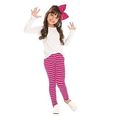 Legging infantil listras pink