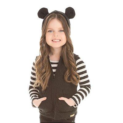 Colete e blusa infantil listrada preto