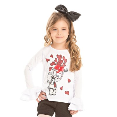 Blusa infantil ML urso coração