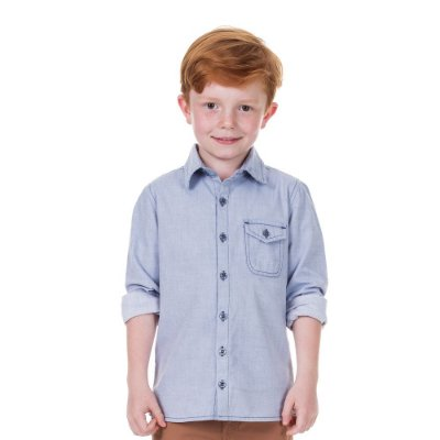 Camisa infantil jeans white blue