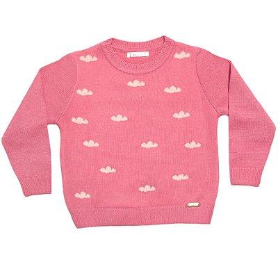 Sueter infantil lã nuvens rosa
