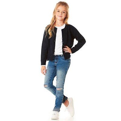 Calça infantil jeans skinny marmorizada