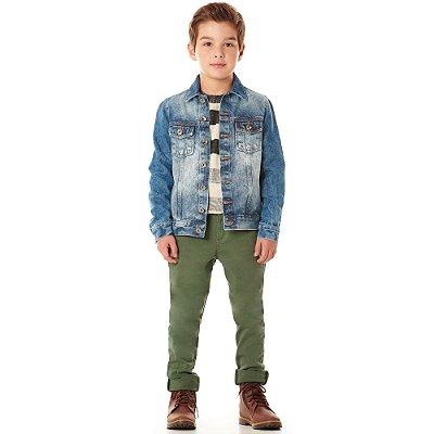 Calça infantil sarja army green