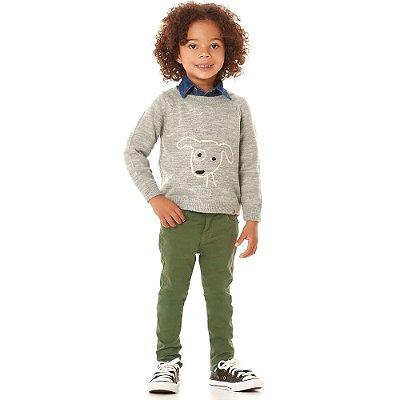Calça infantil sarja army green elástico