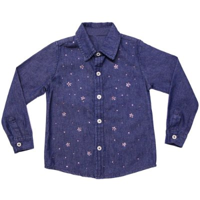 Camisa infantil ML jeans pedraria