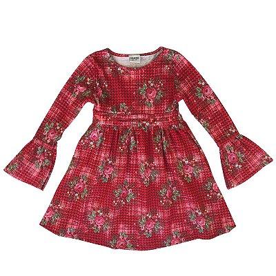 Vestido infantil ML floral vermelho