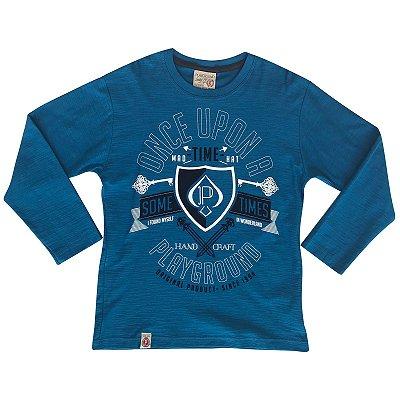 Camiseta infantil ML sometimes azul