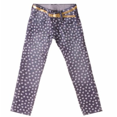 Calça infantil jeans corações
