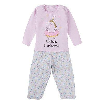 Pijama ML infantil unicórnio
