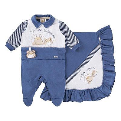Saída de maternidade menino azul/branco