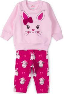 Conjunto bebê coelhinha blusão e legging peluciada