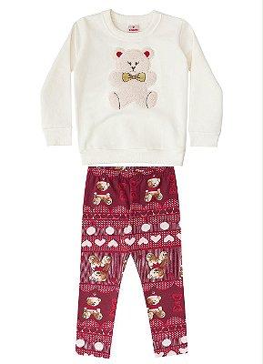 Conjunto infantil blusão e legging peluciada urso vermelho