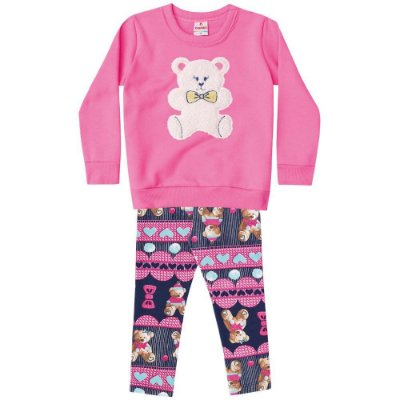 Conjunto infantil blusão e legging peluciada urso rosa