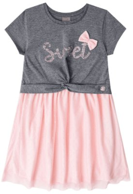 Vestido infantil menina Mundi cinza/rosa