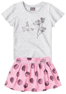 Conjunto blusa e short-saia Mundi mescla/rosa