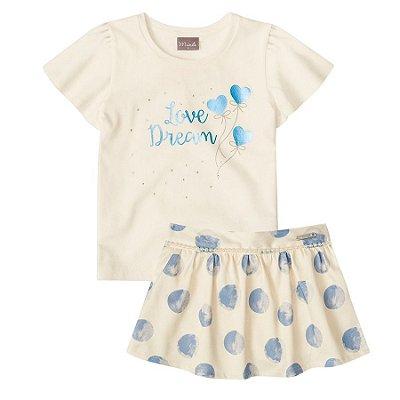 Conjunto blusa e short-saia Mundi creme/azul