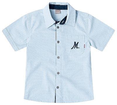 Camisa tricoline Mundi azul