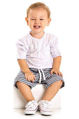 Conjunto bebê camiseta flamê e bermuda sarja