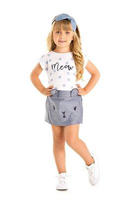 Conjunto blusa e short-saia branco/azul