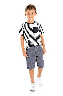 Conjunto camiseta e bermuda listras/jeans