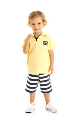 Conjunto camiseta polo e bermuda moletinho amarelo/listras