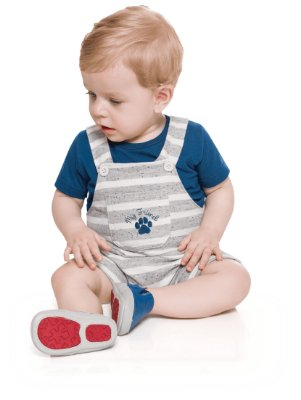 Conjunto bebê menino camiseta e jardineira moletinho azul/mescla