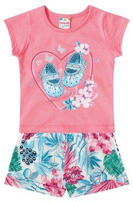 Conjunto bebê menina blusa e short Brandili