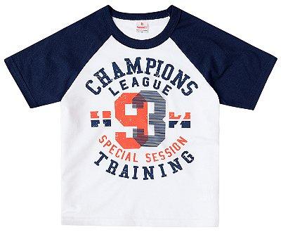 Camiseta infantil menino branca/marinho
