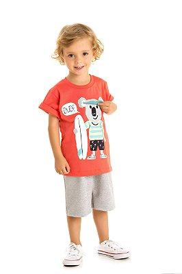 Conjunto camiseta coala e bermuda moletinho mescla