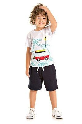 Conjunto camiseta kombi e bermuda moletinho marinho