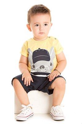 Conjunto bebê camiseta pug e bermuda moletinho azul marinho