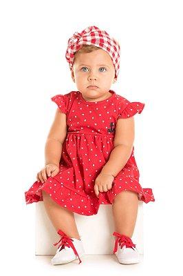 Vestido bebê menina vermelho poá