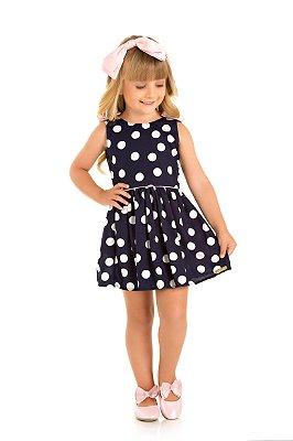 Vestido infantil azul marinho maxi poá