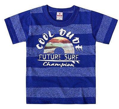 Camiseta infantil menino listrada azul