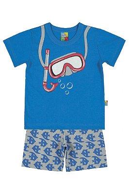 Conjunto camiseta e bermuda microfibra mergulho