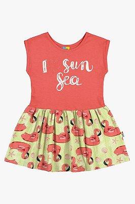 Vestido infantil flamingos