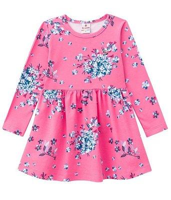 Vestido infantil manga longa rosa floral