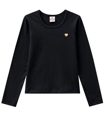 Camiseta infantil manga longa preta