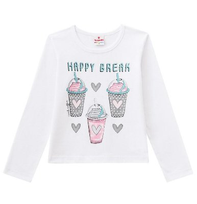 Camiseta ML Menina Happy Break Branca