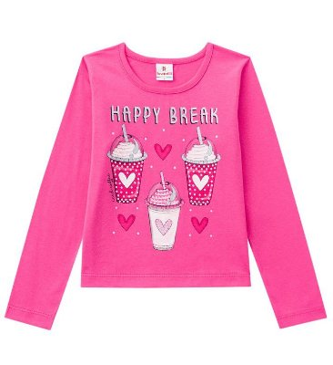 Camiseta ML Menina Happy Break Rosa