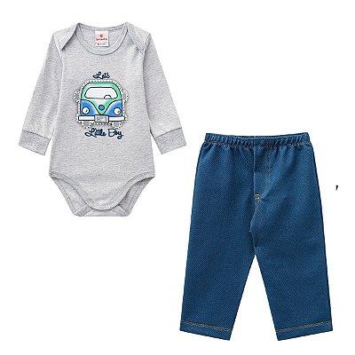 Conjunto bebê menino com body e calça jeans confort