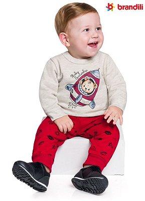 Conjunto moletom bebê menino urso espacial