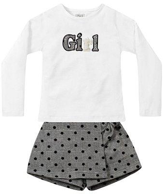 Conjunto infantil menina com short saia