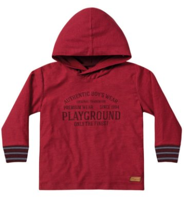 Camiseta ML menino com capuz vermelha