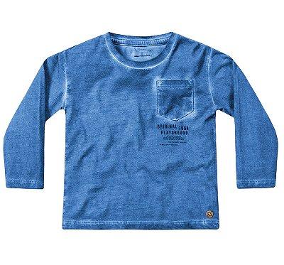 Camiseta ML menino azul com bolsinho