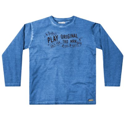 Camiseta ML infantil menino azul play