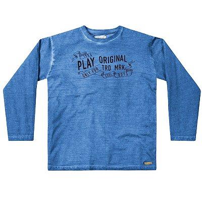 Camiseta ML infantil menino azul play